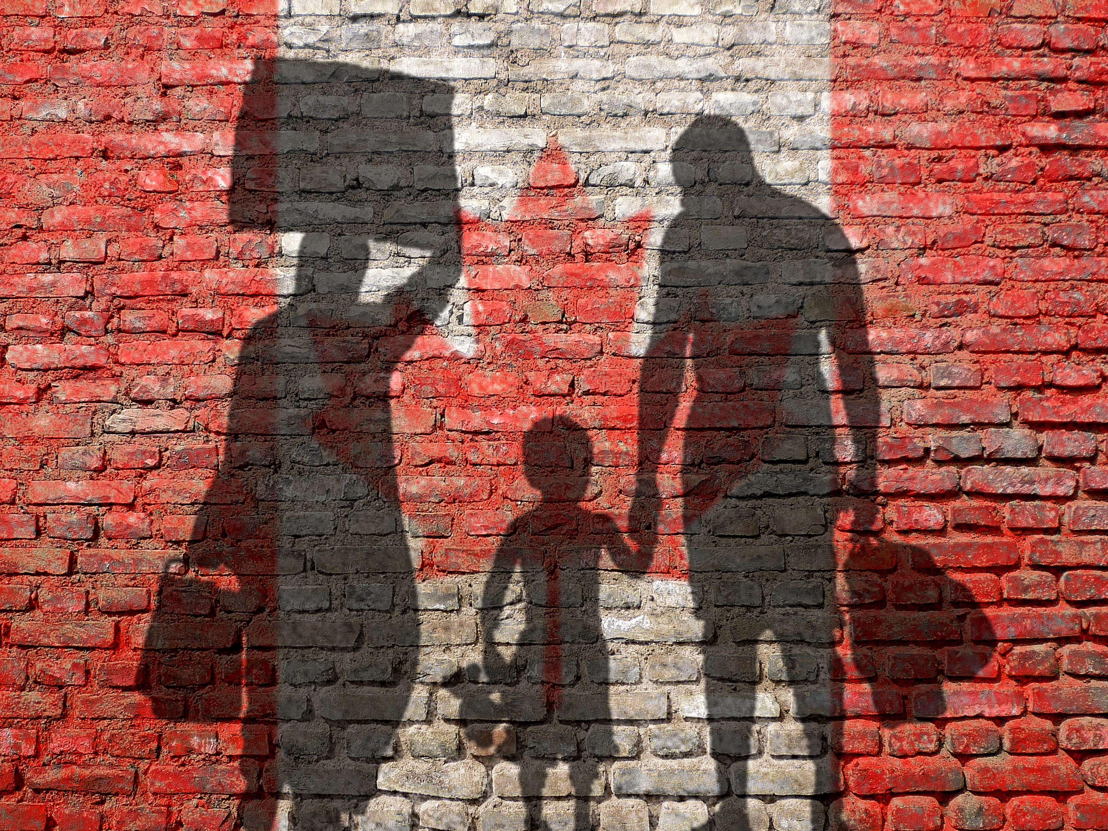 Image of refugees against a Canadian flag