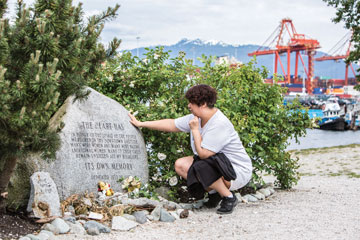 Allan pauses to reflect at a memorial in Crabtree Park in Vancouver, dedicated to the 1,200 Aboriginal women who went missing or were murdered between 1980 and 2012. Although Aboriginal women are only four percent of Canada's female population, they represent nearly 25 percent of female homicide victims