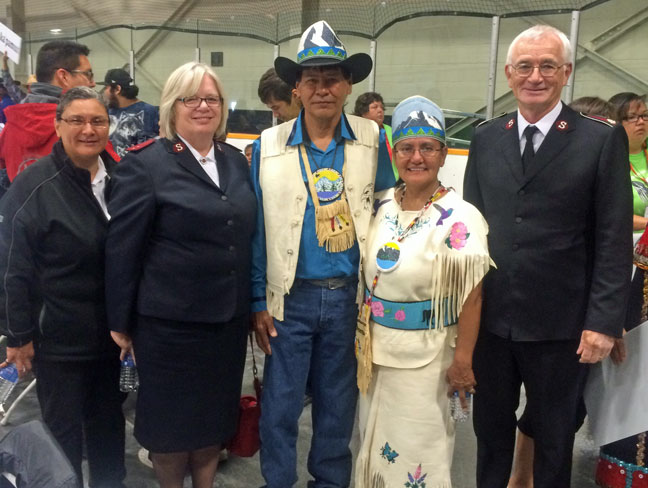 Salvation Army leaders were honoured guests at the recent Elders Gathering in British Columbia. From left, Mjr Shari Russell, Cpt Lisa MacPherson, honorary king and queen James and Dinah Lulua, and Lt-Col Jim Champ