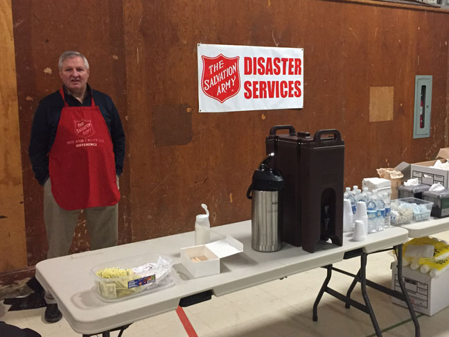 Major Bruce Shirran, area commander, Newfoundland and Labrador Division, is ready serve displaced people at a warming centre