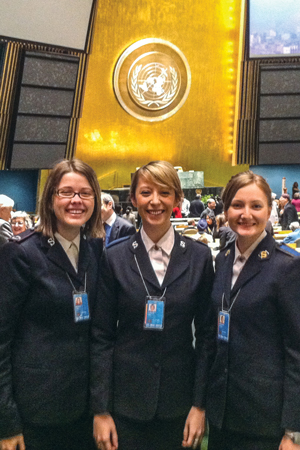 Jillian Peddle (left) at the United Nations