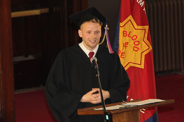 Valedictorian Scott Penner addresses graduates at the convocation ceremony