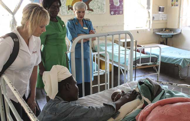 Mjr Sandra Welch (left) visited the labour ward, where approximately 1,000 babies are safely delivered each year