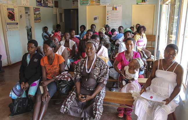 New and expectant mothers wait to see the nurse at the hospital clinic