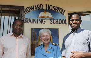 From left, Dr. Chikwenjere, Mjr Joan Gibson, Dr. Museka outside the training centre