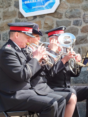 Members of the Canadian Staff Band play at a commemorative mass for victims of the Empress of Ireland disaster at Sainte-Luce Roman Catholic church in Rimouski, Quebec, on June 1, 2014