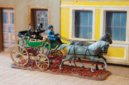 "General William and Catherine Booth take a ride in a horsedrawn carriage. ""This was a conversion of a Revell model kit that I completed two years ago"""
