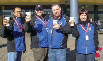 From left, Cpts Charles Chalrimawia, Fred Reid, David Bond and Joyce Downer volunteer at the 2010 Winter Olympics in Vancouver