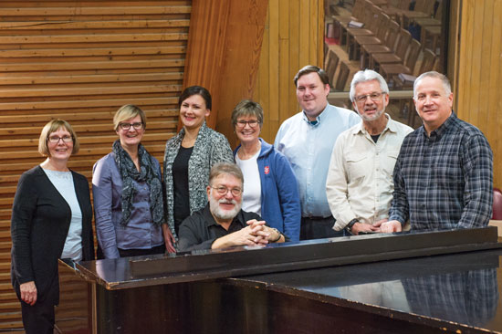 Louise Downey, Cathie Koehnen (deputy songster leader), Janine van der Horden, Nancy Turley, Jeremy Avery, Mjr David Ivany and Glenn Court rehearse with Mjr Len Ballantine at Yorkminster Citadel in Toronto