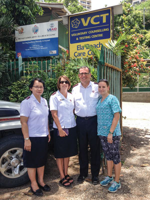 Nurse April Barthau, right, takes Lt-Col Dina Ismael, chief secretary, Papua New Guinea Tty, and Comrs Tracey and Floyd Tidd, national leaders of The Salvation Army in Australia, on a tour of the Ela Beach Clinic in Port Moresby