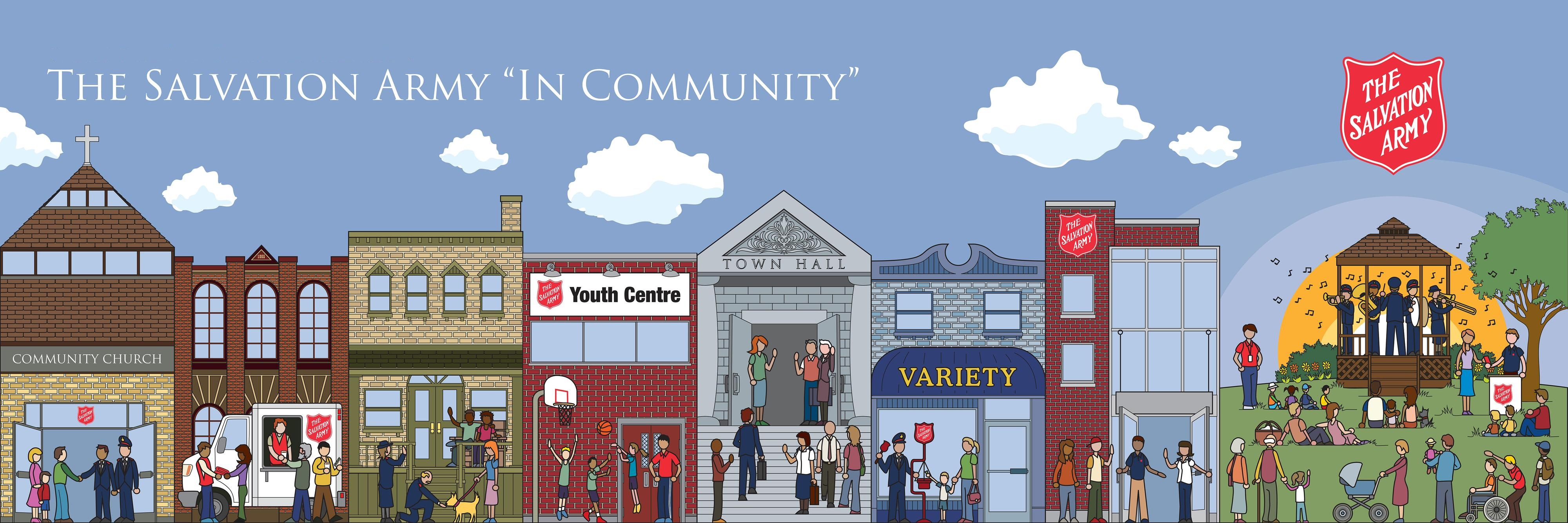 "Graphic of ""The Salvation Army in Community"" which displays an animated sequence of scenes of The Salvation Army working in the community - community church, outreach van, youth centre, thrift store, Christmas kettles, community picnic in the park."
