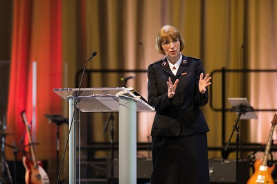 Commissioner Susan McMillan brings the Word to Salvationists during the camp meetings