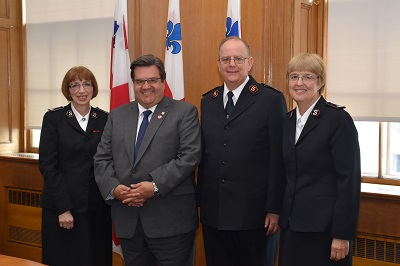 Commissioner Susan McMillan, the General and Commissioner Cox meet Montreal Mayor Denis Coderre