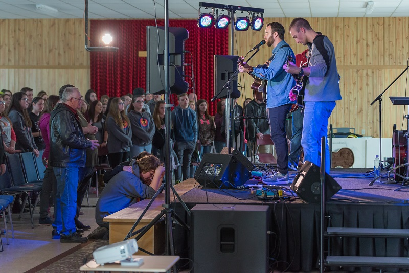 The band leads worship at The Salvation Army's FUSE 2017 weekend at Twin Ponds Camp, N.L.