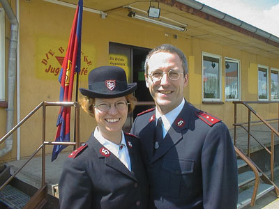 Then Cpts Marsha-Jean and David as corps officers in Leipzig