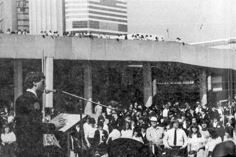 A teenaged Col Lee Graves speaks at an open-air meeting at Nathan Phillips Square in Toronto in 1979