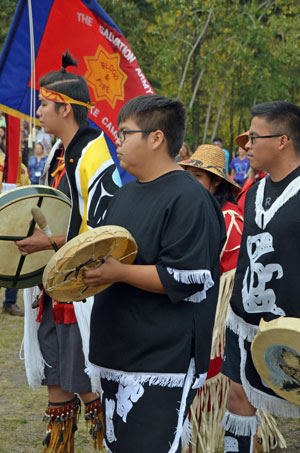 Young Salvationists from the northern region of the British Columbia Division participate in the Journey of Reconciliation pow wow at Pine Lake Camp
