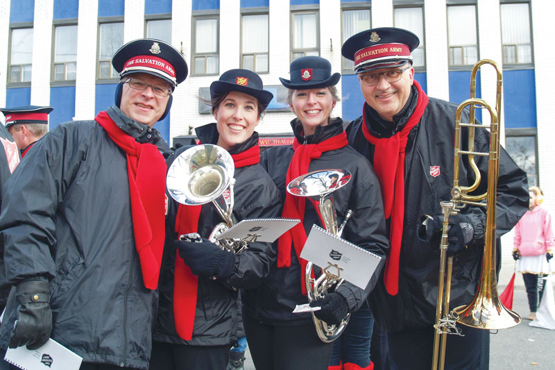 Marching in the Santa Claus parade: Steve Brown, Amanda Westover, Jennifer Vos and Bill Way