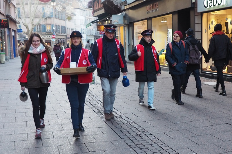 Salvation Army volunteers hit the streets of Strasbourg to provide coffee and comfort
