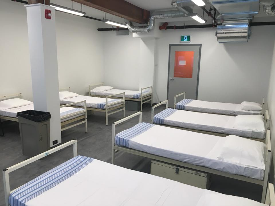 The new shelter includes beds for 60 men
