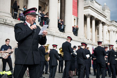 Commissioner Brian Peddle preaches at Trafalgar Square in London, England, during The Whole World Mobilising celebration in October 2017