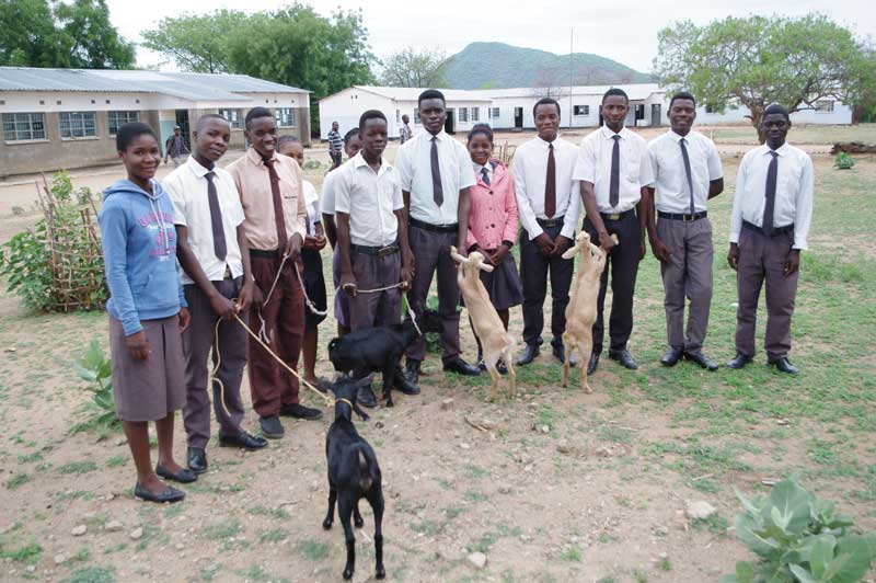 Chaanga Secondary School pupils during the goat distribution ceremony
