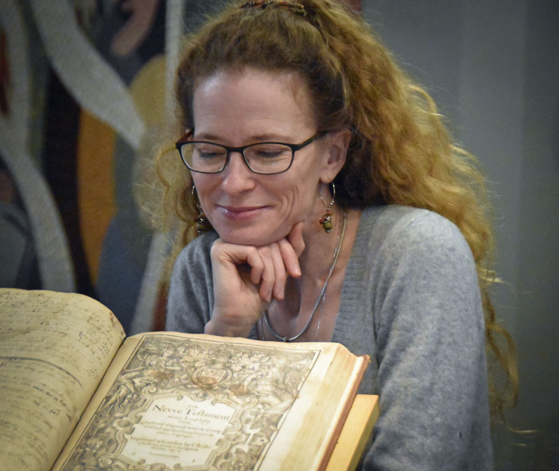 Meagan Morash with Booth University College's Geneva Bible