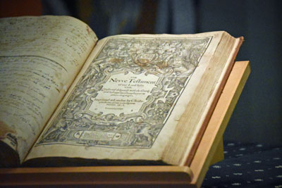 The Geneva Bible, open to the beginning of the New Testament