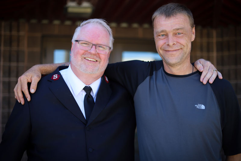 Lieutenant Mark Young (left) and Conrad Ginter share a smile (Photos: Jordan Thompson)