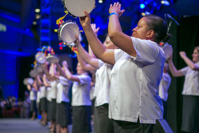 – Doars performs a timbrel drill at the Boundless 150 congress