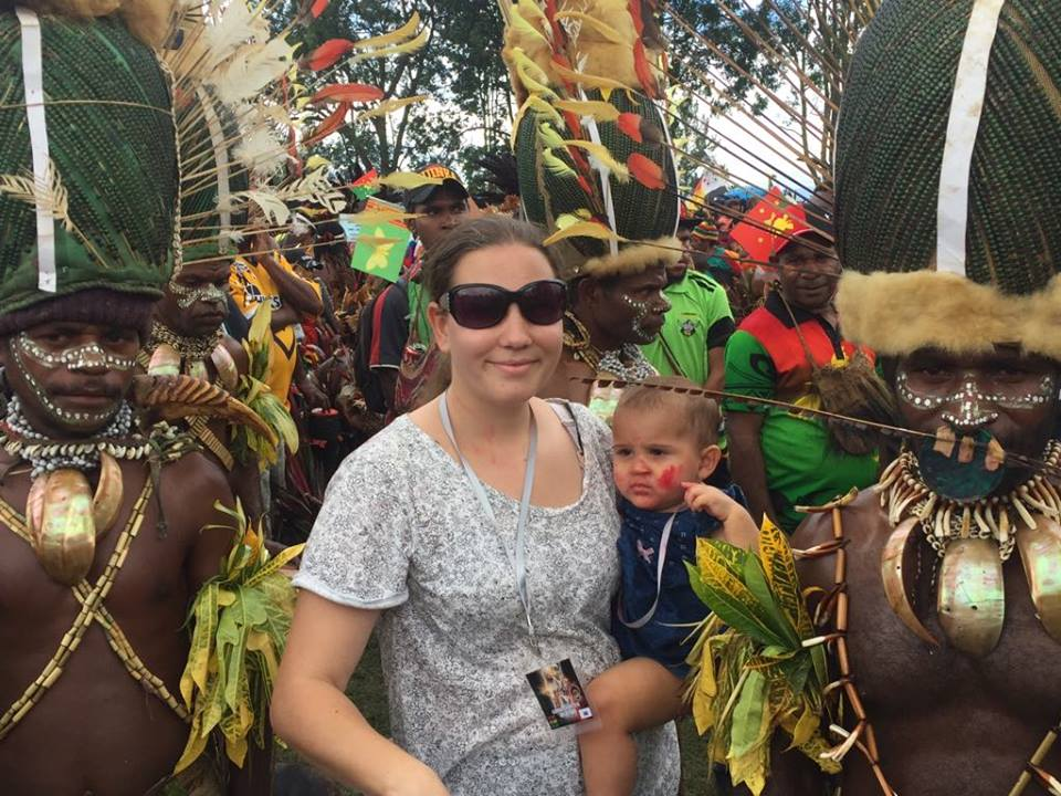 April Barthau and Hadassah at a cultural show in Papua New Guinea