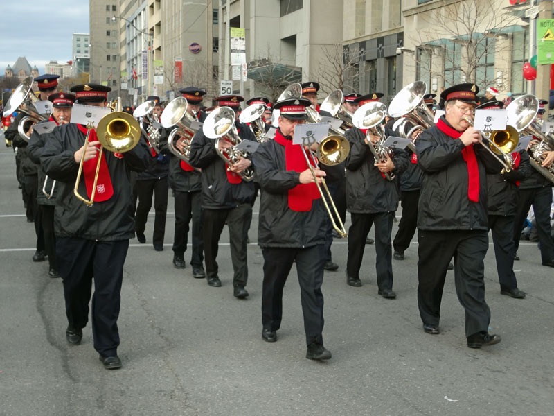 A Salvation Army band participates in a recent Santa Claus parade