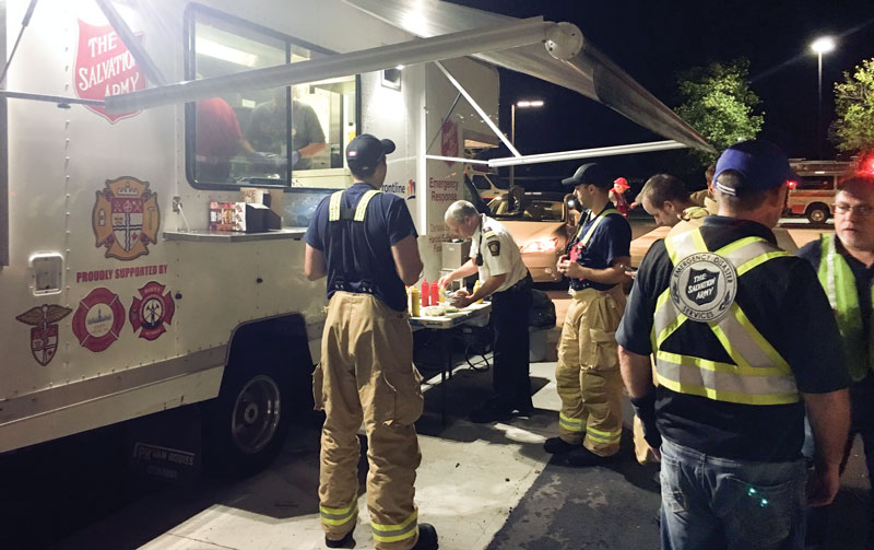 A Salvation Army canteen serves first responders in the immediate aftermath of the tornadoes