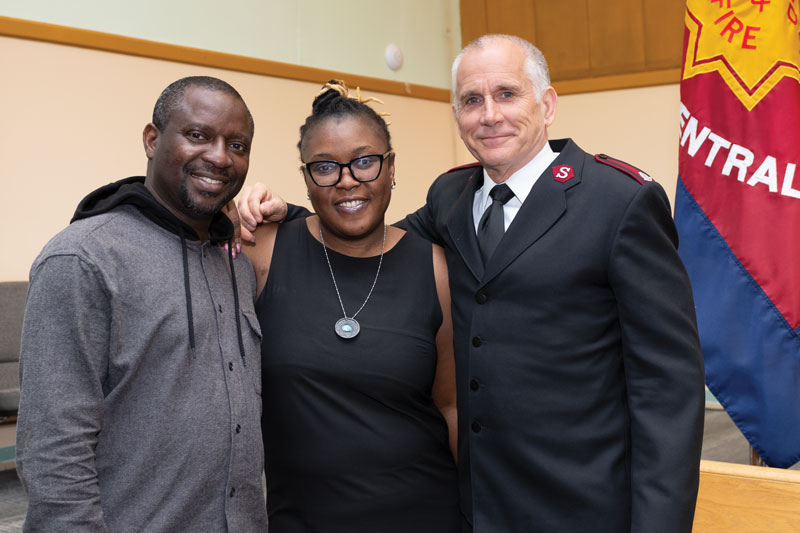 Harrison and Evelyn Umudi with their corps officer, Mjr Doug Hammond (Photo: Timothy Cheng)