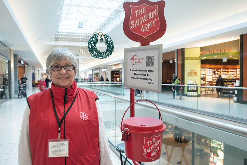 A Salvation Army kettle worker (Photos: Joel Johnson)