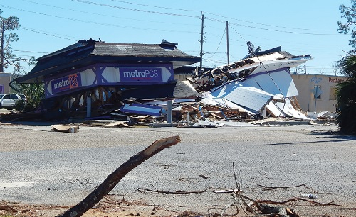 A store destroyed by the hurricane