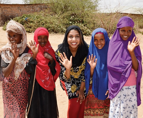Molly Thomas with a group of young women in Somalia