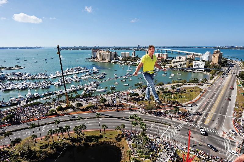 Nik Wallenda wire-walks 55 metres above Sarasota, Florida, in 2013 (Photo: Tim Boyles)
