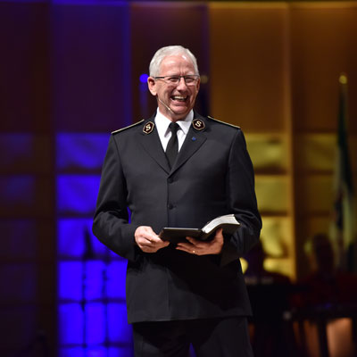 General Brian Peddle shares a message with the congregation
