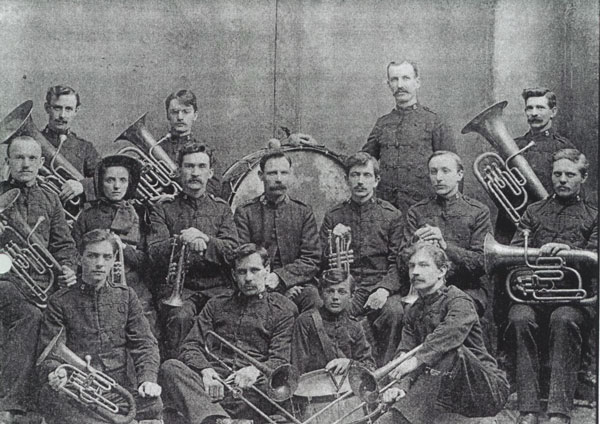 The 1898 Staff Band poses together