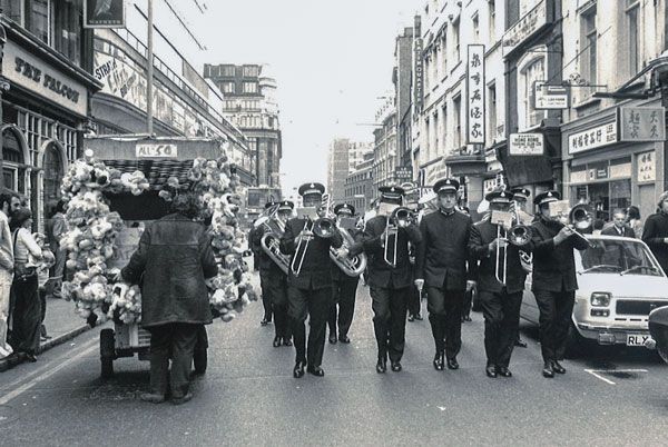 The Canadian Staff Band marches through the streets of London, England