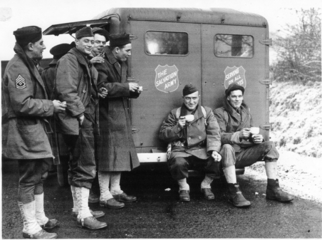 A Canadian canteen serves American troops during the Second World War