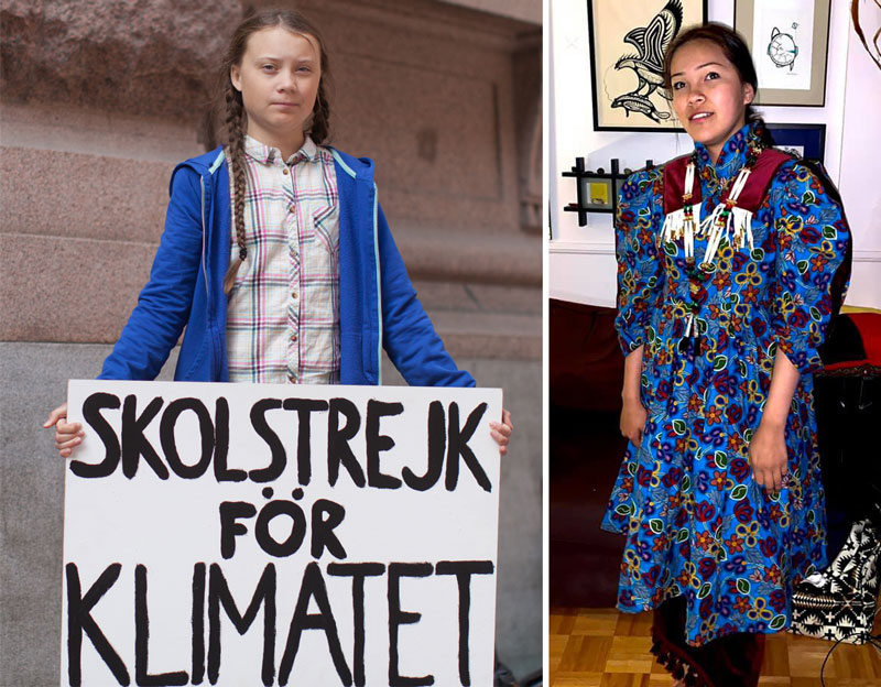 "Left, Greta Thunberg holds a sign that reads ""Strike for Climate""; right, Autumn Peltier"