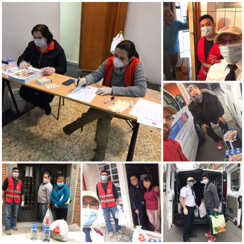 A collage shows Salvation Army workers at the food bank operation in Madrid holding a pen and paper, other staff wear masks as they load up a truck to go out into the community to distribute food