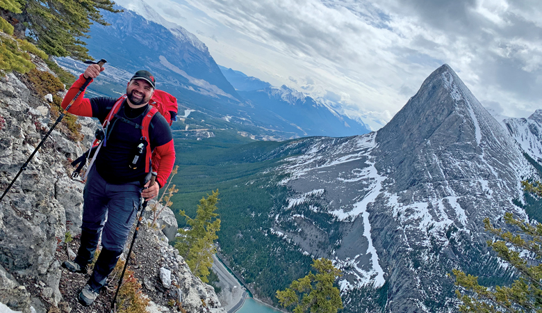 Mike Forsey hikes the East End of Rundle Mountain near Canmore, Alta. (Photo: Gil Molina)