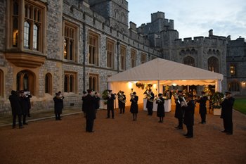 Salvation Army band plays on grounds of Windsor Castle