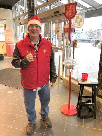 Kevin volunteers at a Salvation Army kettle