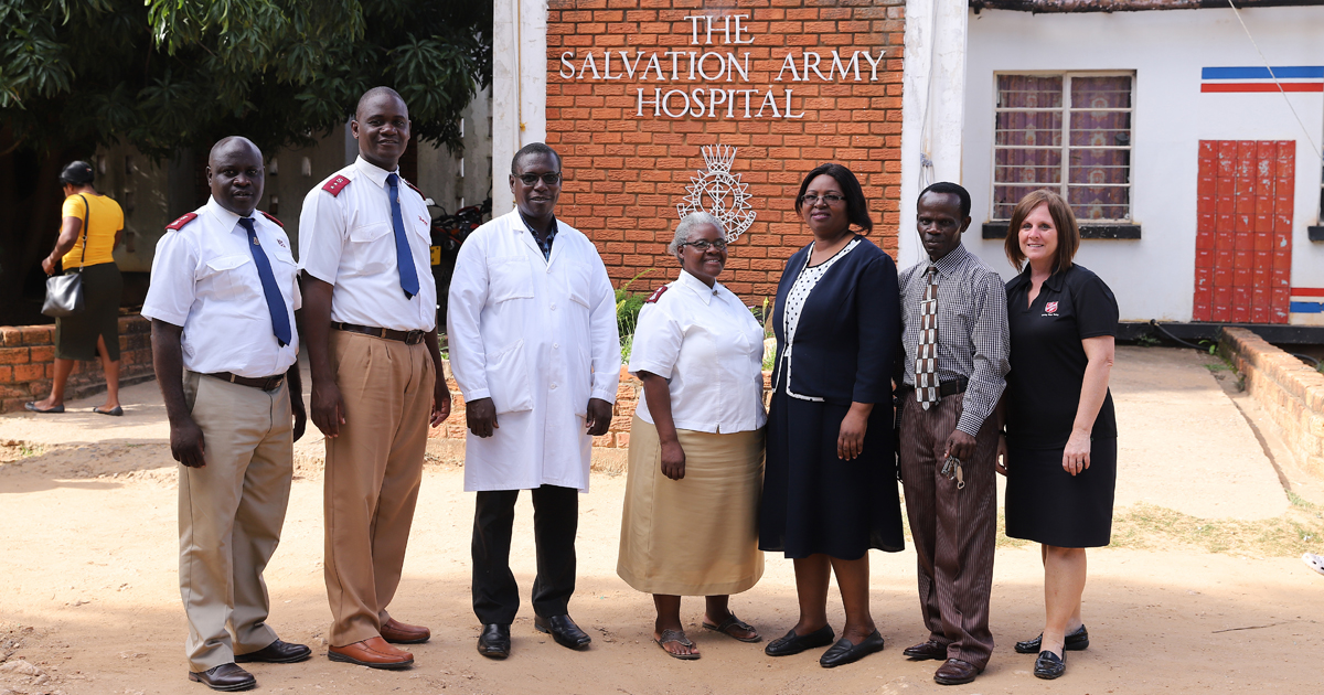 Lt-Colonel Brenda Murray (right) with some of the staff at the Chikankata Mission Hospital