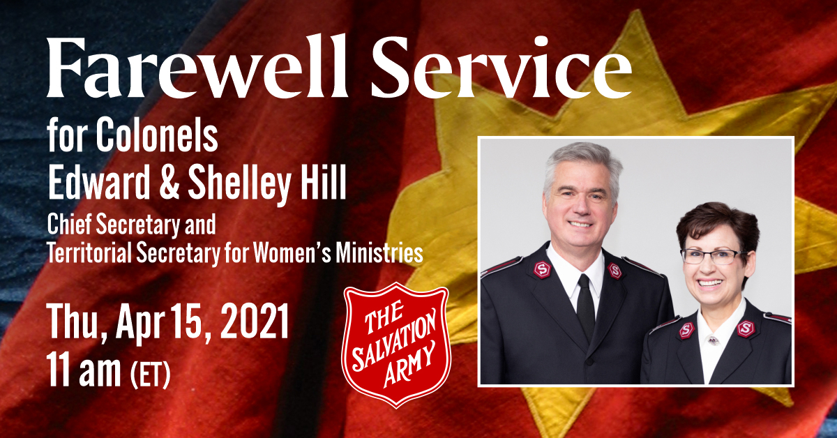 Farewell Service for Colonels Edward & Shelley Hill, April 15 at 11am