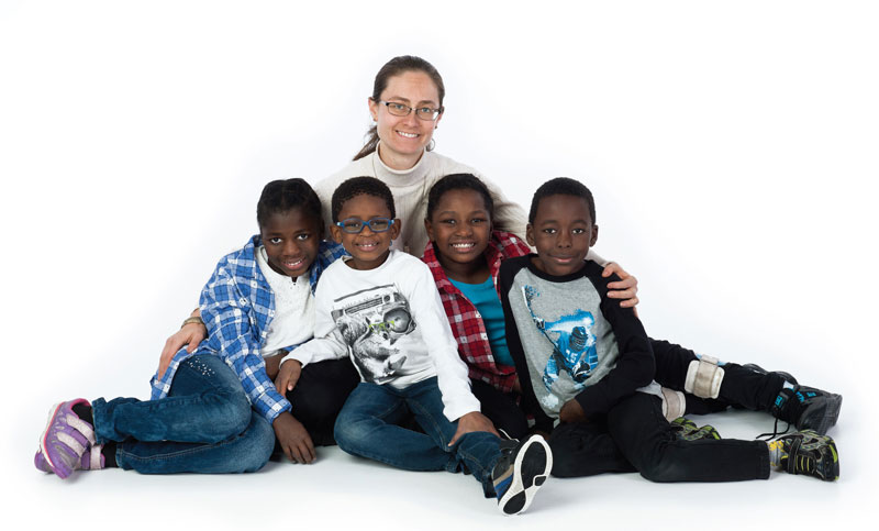 Shoshanna van Dijk holds her children Pamela, Nicholas, Sihle and Musa (Photos: Focal Point Studios)